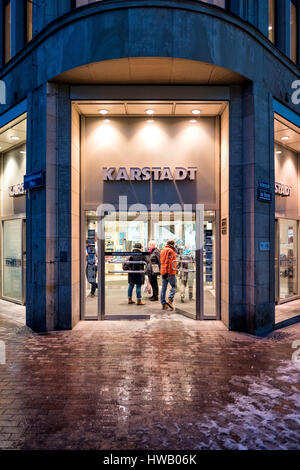 entrance of the Karstadt original company building in Wismar opened by Rudolph Karstadt on May 14, 1881 - Stock Photo
