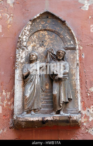 ROME, ITALY - SEPTEMBER 03: Ecce Homo, bass relief in Basilica of Saint Sylvester the First (San Silvestro in Capite) - Stock Photo