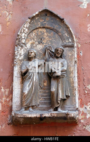 Ecce Homo, bass relief in Basilica of Saint Sylvester the First (San Silvestro in Capite) in Rome, Italy on September - Stock Photo