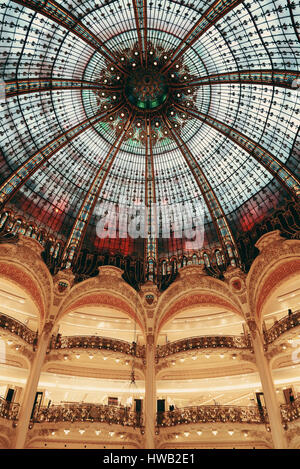 PARIS, FRANCE - MAY 13: Galeries Lafayette interior view on May 13, 2015 Designed by architect Georges Chedanne - Stock Photo