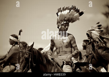 Native American Indians Crazy Horse Battle of Little Big Horn Custer's Last Stand reenactment actor on horseback - Stock Photo