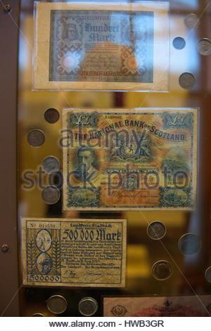 Scottish Pound and Mark notes - Stock Photo