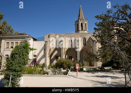 France, Vaucluse, Avignon, Perdiguier agricultural square before the church Saint Martial, young woman from rear - Stock Photo