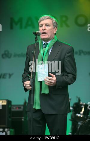 London 19 March 2017 Dan Mulhall, Ambassador of Ireland to Great Britain since September 2013 speaking in Trafalgar - Stock Photo