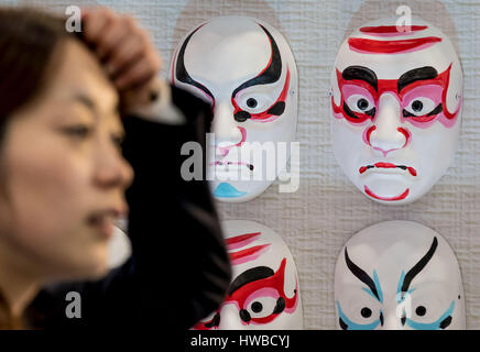 Hanover, Germany. 19th Mar, 2017. Japanese masks hanging on the exhibition grounds of the CeBIT trade fair in Hanover, - Stock Photo