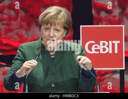 Hanover, Germany. 19th Mar, 2017. German Chancellor Angela Merkel (CDU) speaking at the opening of the CeBIT trade - Stock Photo