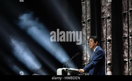 Hanover, Germany. 19th Mar, 2017. Prime Minister of Japan Shinzo Abe speaking at the opening of the CeBIT trade - Stock Photo