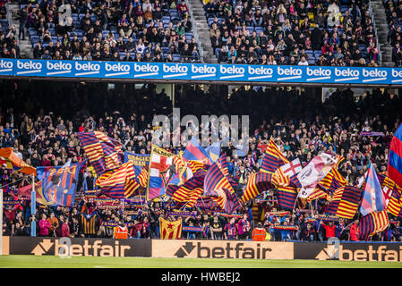 Barcelona, Catalonia, Spain. 19th Mar, 2017. The fans of the FC Barcelona wave their flags during the LaLiga match - Stock Photo