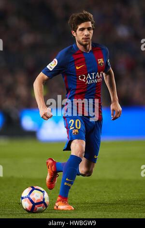 Barcelona, Spain. 19th Mar, 2017. Sergi Roberto (FC Barcelona), during La Liga football match between FC Barcelona - Stock Photo