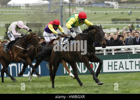 17.03.2017 - Cheltenham; Sizing John (yellow-green) ridden by Robbie Power wins the Timico Cheltenham Gold Cup Chase (Grade 1) at Cheltenham-Racecourse/Great Britain. Credit: Lajos-Eric Balogh/turfstock.com
