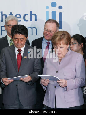 Hanover, Germany. 20th Mar, 2017. Japanese Prime Minister Shinzo Abe (L-R), the German state of Lower Saxony's premier - Stock Photo