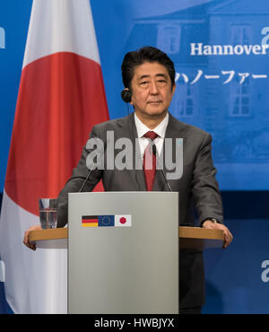 Hanover, Germany. 20th Mar, 2017. Japanese Prime Minister Shinzo Abe speaks at event in the Herrenhaeuser Orange Gardens in Hanover, Germany, 20 March 2017. Merkel is meeting Abe for bilateral talks on the side of the computer trade fair CeBIT. Photo: Peter Steffen/dpa/Alamy Live News