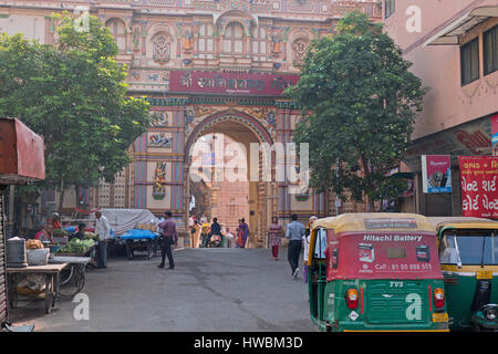 Scene at the central gateway leading to the two hundred years old Shri Swaminarayan Hindu temple in the Kalupur - Stock Photo