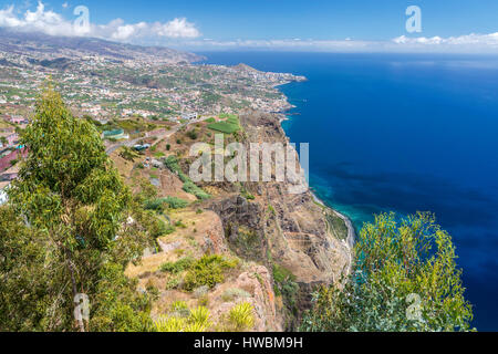 The panoramic terrace (with glass floor) at the top of Cabo Girao cliff, Câmara de Lobos, Madeira, Portugal. - Stock Photo