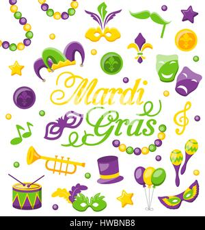 Celebration Background with Set Mardi Gras and Carnival Icons and Objects - Stock Photo