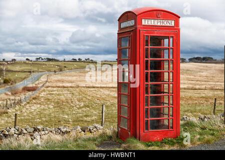 A British Telecom Telephone box, Thruscross. Harrogate, North Yorkshire, UK - Stock Photo