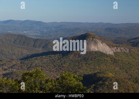Looking Glass Rock in late afternoon in fall color, Blue Ridge Parkway, NC, USA - Stock Photo