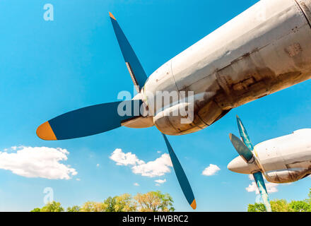 Turbines of turboprop aircraft against blue sky at an abandoned aerodrome - Stock Photo