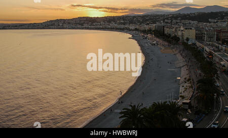 Dusk Night Lights Aerial Panoramic View Nice French Riviera France. - Stock Photo