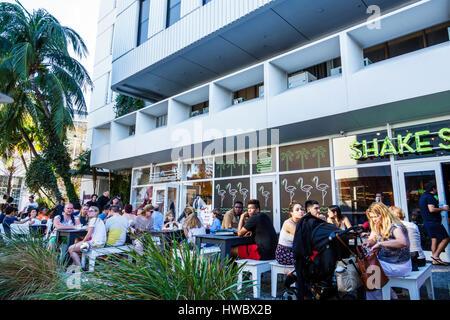 Miami Beach Florida Lincoln Road shopping pedestrian mall Shake Shack restaurant dining gourmet hamburgers fast - Stock Photo