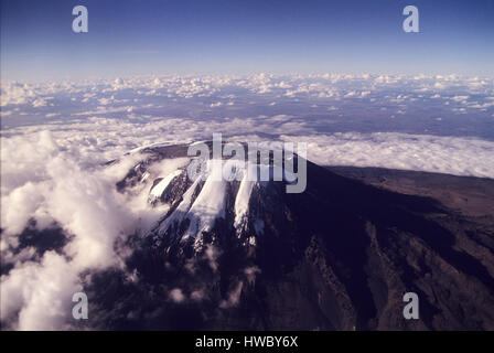 Mount Kilimanjaro the highest point in Africa with 5895 meters above sea level, Tanzania - Stock Photo