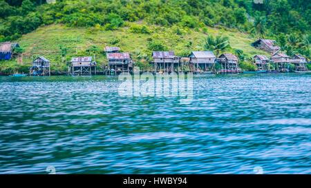 Local Village on Monsuar Island. Raja Ampat, Indonesia, West Papua - Stock Photo