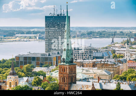Riga, Latvia. Summer Riga Cityscape. Top View On Famous Landmark - St. James's Cathedral, or the Cathedral Basilica - Stock Photo