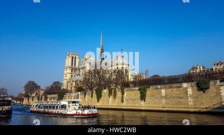 River Seine, Cathedral Notre Dame de Paris. France - Stock Photo