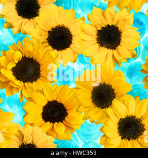 Retro seamless pattern with photo sunflowers on watercolor teal - Stock Photo