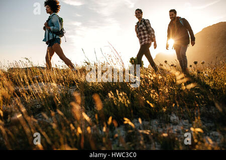 Three young friends on a country walk. Group of people hiking through countryside. - Stock Photo