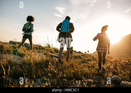 Three young friends on a country walk. Group of people hiking through countryside on summer day. - Stock Photo