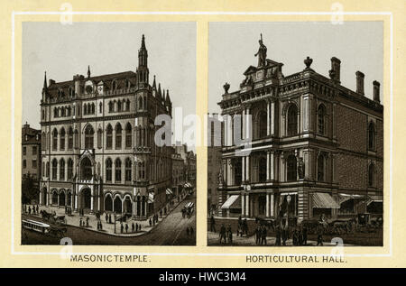 Antique 1883 monochromatic print from a souvenir album, showing the Masonic Temple (built 1867) and Horticultural - Stock Photo
