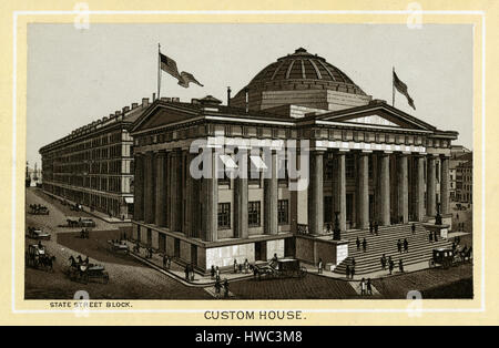 Antique 1883 monochromatic print from a souvenir album, showing the Custom House on India Street and State Street - Stock Photo