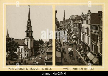 Antique 1883 monochromatic print from a souvenir album, showing the Park Church & Tremont Street and Washington - Stock Photo