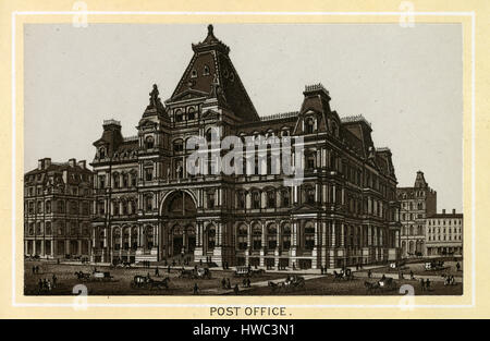 Antique 1883 monochromatic print from a souvenir album, showing the United States Post Office in Boston, Massachusetts. - Stock Photo