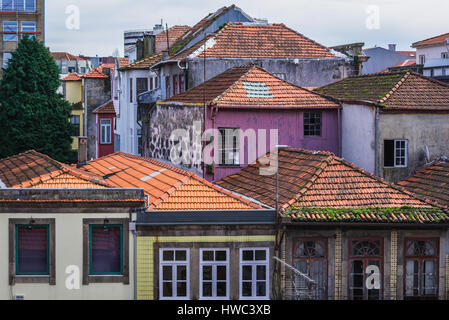 Old apartment buildings in Santo Ildefonso district of Porto city on Iberian Peninsula, second largest city in Portugal - Stock Photo