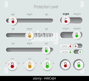 set of sliders, buttons and switches. Template for a white interface with padlocks for different levels of protection - Stock Photo