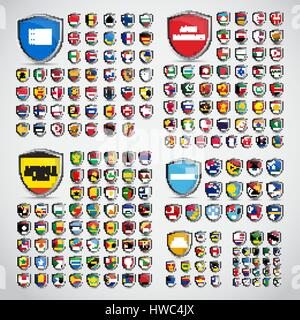 Big set of shields with the flags of the countries of South and North America, Africa, Asia, Europe and Oceania - Stock Photo