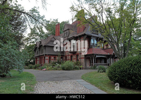 Catharine Day House at Harriet Beecher Stowe Center in Hartford, Connecticut - Stock Photo