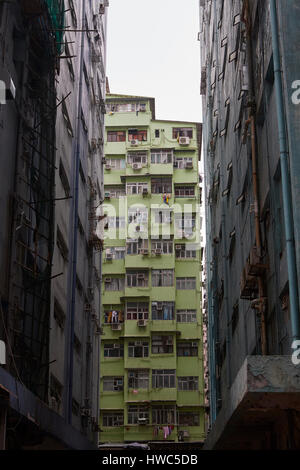 Low Rent Apartment Buildings In Kowloon City, Hong Kong. - Stock Photo