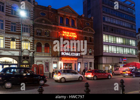 Sloane Square at night with The Kid Stays in the Picture at The Royal Court Theatre. - Stock Photo