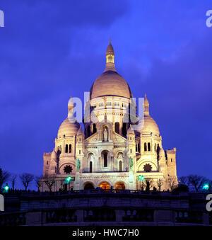 Sacre Coeur at dusk, Montmartre, Paris, France - Stock Photo