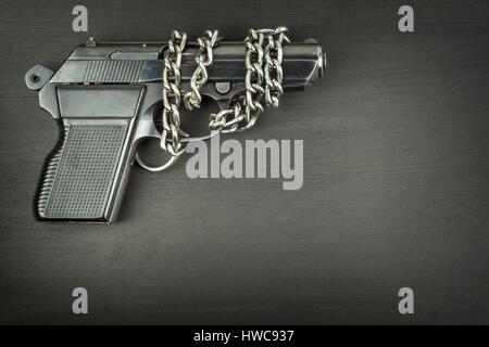 Right to bear arms. Arms control. Detail on the gun. Place for your text. Sales of firearms - Stock Photo