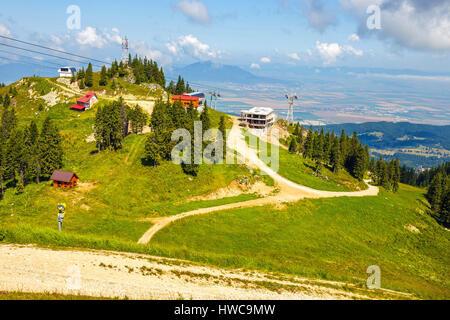 View from Postavarul Massif, Poiana Brasov, Romania - Stock Photo