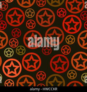 vector seamless pattern - red stars in circles on green background - Stock Photo