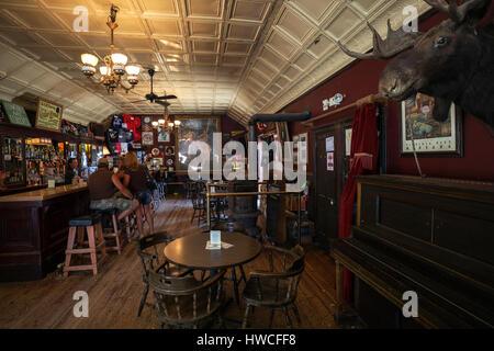 Bar, Saloon, Indoors, Virginia City, former gold mining town, Montana Province, USA - Stock Photo