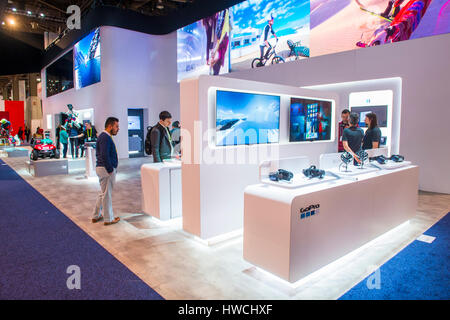LAS VEGAS - JAN 08 : The GoPro booth at the CES show held in Las Vegas on January 08 2016 , CES is the world's leading - Stock Photo