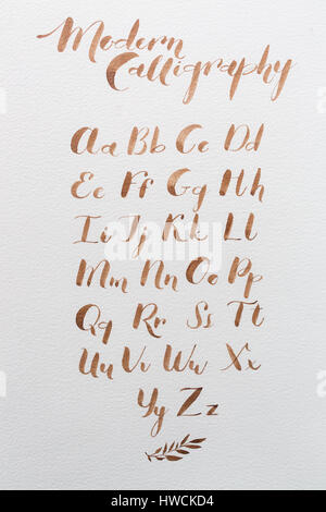 Hand drawn latin calligraphy of brush script. calligraphical letters of the English alphabet. Letters of the alphabet - Stock Photo