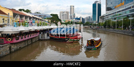 Horizontal panoramic (2 picture stitch) view of Clarke Quay in Singapore. - Stock Photo