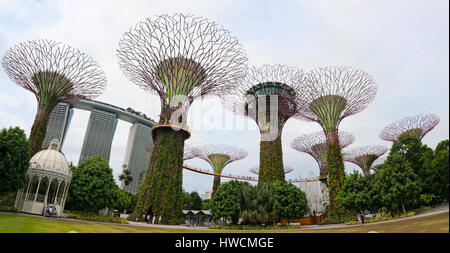 Horizontal panoramic (2 picture stitch) view of the OCBC skyway at the Supertrees at the Gardens by th - Stock Photo